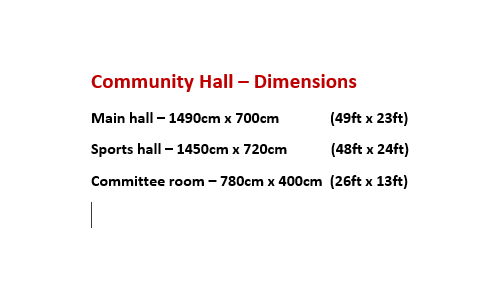 Community Hall Dimensions